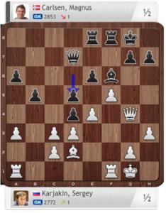 Posición después de 19. ... d5!? Karjakin, S. - Carlsen, M. (11) Nueva York, 2016.